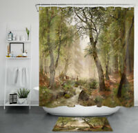 Spring Forest Stream Deers Flock Painting Waterproof Fabric Shower Curtain Set