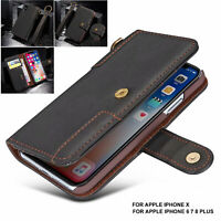 For iPhone 11 Pro XS Max XR SE 8 Genuine UJA Leather Flip Wallet Card Case Cover