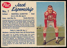 1962 POST CFL FOOTBALL #7 JACK ESPENSHIP EX-NM MONTREAL ALOUETTES Florida state