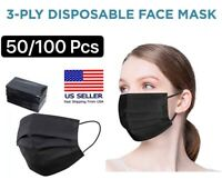 50-100 PCS Black Face Mask Mouth & Nose Protector Respirator Masks US Seller