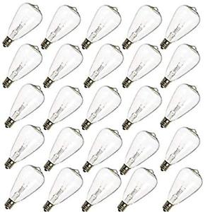 Romasaty 25-Pack ST35 Light Bulbs Replacement Edison Clear Bulbs -5 Watts C7/E12