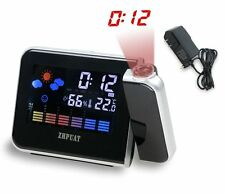 Projection Alarm Clock LED Snooze Indoor Temperature Weather Projector Time Date
