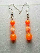 Dangle earrings - Neon orange glass beads, 47 mm long