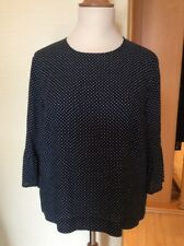 Bianca Top Size 18 BNWT Navy White Polka Dots Fluted Sleeves RRP £64.95 Now £29