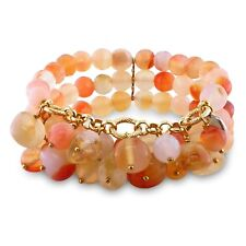 Amour Brass Agate and Multi-colored Quartz 3-row Stretch Bracelet