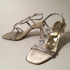 Johann Design Heels Evening Sandals Shoes Wedding Size 39 Platine Made in Italy