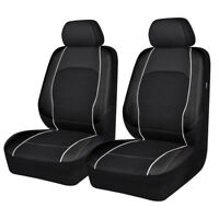 Universal 2 Front Car Seat Covers Protector Leather Mesh Airbag Compatible Black