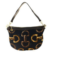 Auth Gucci Horsebit Canvas,Leather Shoulder Bag Black 33GA674
