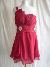 Ladies Dress - Unknown, size 14, red, polyester, party, cocktail, used DMG 7130-