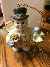 Lenox Joyful Tidings Snowman Porcelain Christmas Ornament Dated 2000