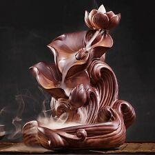 "Ceramic Backflow Incense Holder Burner ""Lotus Waterfalls"""