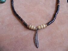 Penshell Heishi, Bone Beads Necklace w Sterling Silver FEATHER Pendant 17 Navajo