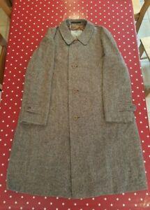 Vintage Aquascutum mens brown herringbone Irish Tweed overcoat 44 Reg VGC