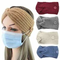 Womens Cross Knit Headband Turban Winter Ear Warmer Hairbands Wrap with Buttons