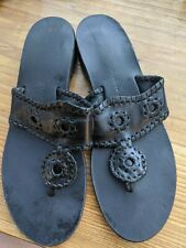 Jack Rogers Navajo Whipstitch Sandals Black  Flats Slides Thong Sz 7 Leather