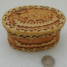 Moose Elk Beresta trinket box Russian birch bark Folk craft Traditional art