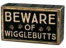 "Beware of Wigglebutts Box Sign Primitives by Kathy 5"" x 3"" wood dog"