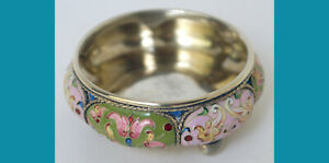 RUSSIAN 88 silver multy-colored ENAMELS CELLAR by BROTHERS GRACHEV 1899-1903y