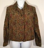 Christopher & Banks Size Small Stretch Paisley Green Burgandy Button Jacket