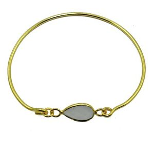 White Chalcedony Pear Shape Yellow Gold Plated Adjustable Bangles Bracelet Her