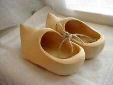Unpainted Wooden Clogs Shoes Vtg Dutch