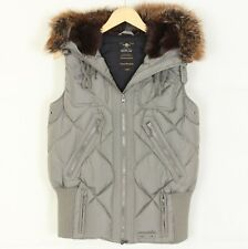 REPLAY EXCLUSIVE DOWN JACKET Quilted Fur Hooded Gilet Vest Jacket Women Size L