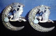 2 Kirks Folly It's A Boy Napkin Rings-Stork & Crescent Moon-Crystal/Hand Enamel
