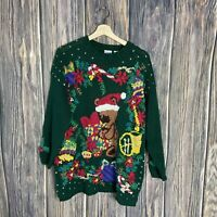 Honors vintage ugly christmas sweater Medium Women's Bear Xmas Party Multicolor