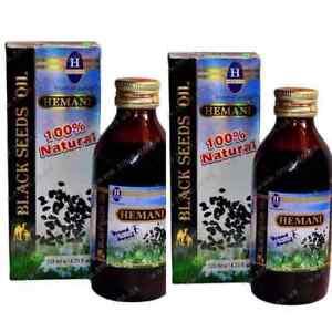 2 x Hemani Black Seed /Cumin/ Nigella Sativa Oil 100% Pure Kolanji Oil 125ml