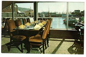 Captain Courageous Restaurant Gloucester, MA Vintage Postcard Table View w/Boats