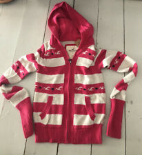 hollister Womens Knitted Zip hoodie Jumper Cardigan Pink White Stripes XS