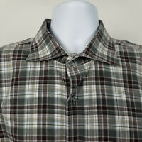 Peter Millar Collection Mens Gray Red Plaid Check Dress Shirt Size XL