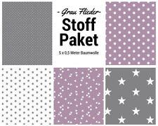 Stoffpaket flieder grau 5x (0,5x1,50m) Patchworkpaket Baumwolle Nähpaket