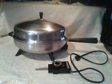 """Vintage Farberware 12"""" Stainless Steel Electric Fry Pan Skillet Dome Lid"""