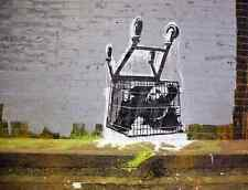 Banksy Trapped in Trolley A3 Box Canvas Print
