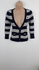 WOMENS ABERCROMBIE & FITCH BLUE & GREY STRIPED KNITTED CARDIGAN SIZE S SMALL