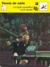 FICHE CARD: Règle expéditive Jeu en double TENNIS de table 1970s