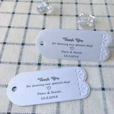 12x Pearl White Lace Personalised Wedding Favor Baptism Baby Shower Gift Tags