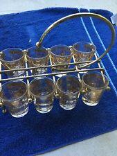 Vintage Starlyte 8 Shot Glasses In Holder
