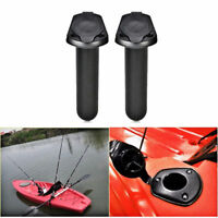 2Pcs Plastic Flush Mount Fishing Boat Rod Holder and Cap Cover for Kayak Pole