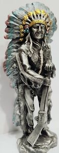 SOLID PEWTER, INDIAN WITH RIFLE FIGURINE/STATUE Weighing 700 grams 14cm  High
