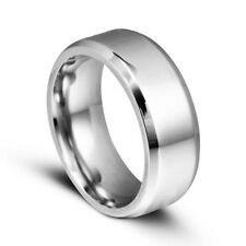 Men Titanium Stainless Steel Ring Promise Engagement Wedding Ring Band Size 7-11