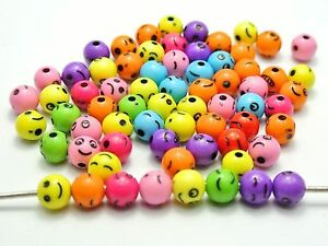 200 Mixed Color with Black Assorted Smile Round Beads 8mm