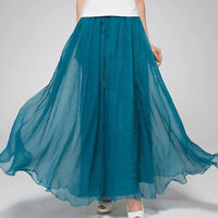 Women Candy Color Summer Boho Chiffon Pleated Long Maxi Dress Sundres Skirt