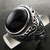 Men's Onyx Ring 925 Sterling Silver Filled Solid Celtic Engraved Signet Sz 11