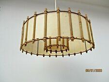 Suspension plafonnier rotin Louis Sognot lustre vintage lamp
