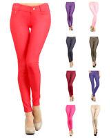 Women's Pull-On Jeggings - Cotton Blend - Denim Look Solid Color by Belle Donne