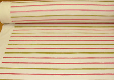 "NEW PER METRE LIME GREEN & PINK EMBROIDERED STRIPE FABRIC ASHLEY WILDE 52"" WIDE"