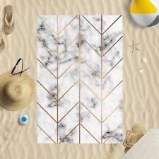 "58""x39"" Rose Gold and Marble Microfibre Beach Towel Sun Bathing Pool Swim"
