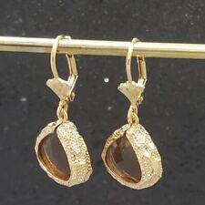 18K Gold Filled Elegant Italian Smoky Quartz Gemstone 18ct GF Drop Earrings 35mm